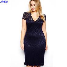 Lady Women Summer Lace Short Sleeve Knee-length V-Neck Dress Vestido Plus Size(China (Mainland))