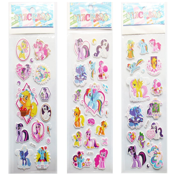 3 packs a lot Wall decor my Little Horse Teacher Reward Wall Desk ponies 3D bubble Stickers Scrapbook for Kids home decor(China (Mainland))