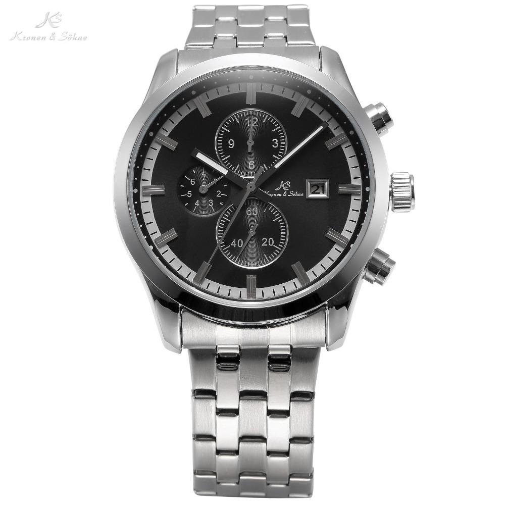 KS Luxury Brand Dress Relojes Auto Date Silver Stainless Steel Strap Male Clock Men Mechanical Automatic Self Wind Watch / KS201(China (Mainland))