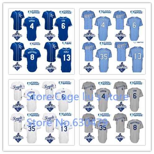 2015 World Series Champions Patch Cheap Stitched Kansas City Royals Lorenzo Cain  Eric Hosmer Salvador Perez Baseball Jersey
