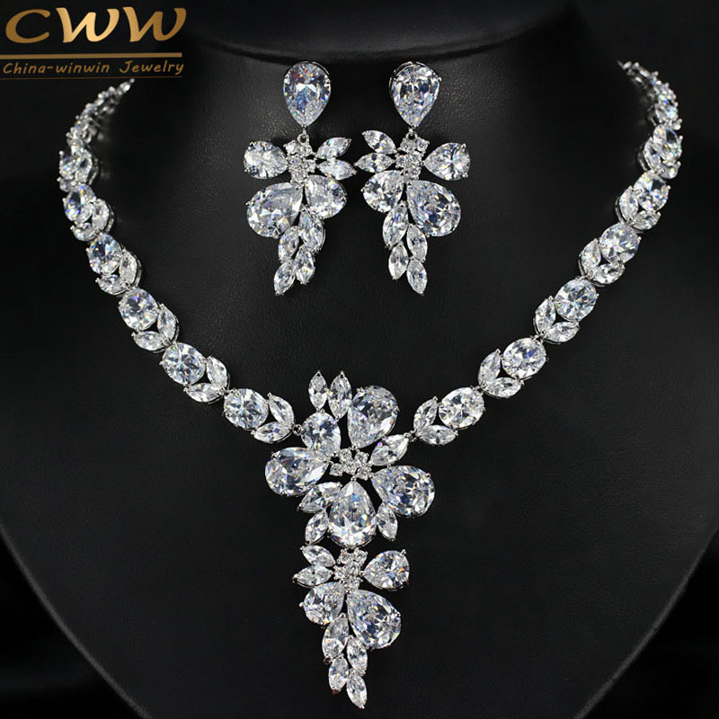 Sparkling Flower Shape Cubic Zircon Wedding Party Accessories White Gold Plated CZ Diamond Big Bridal Necklace Earring Set  T244