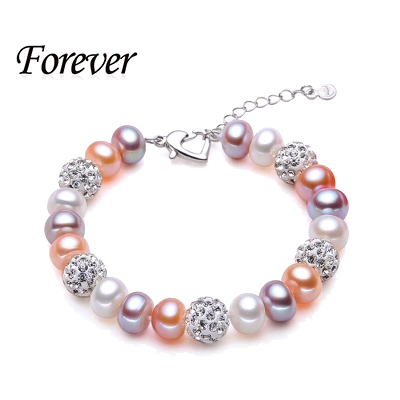 2015 new fashion design 8.5-9.5mm natural freshwater pearl bracelet fashion pearls jewelry for women DIY pearl color bracelets