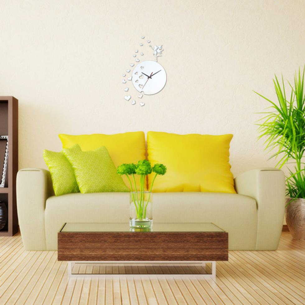 New Free ShippingHigh Quality 3D Acrylic Mirror Wall Sticker Clock Decoration Decor(China (Mainland))