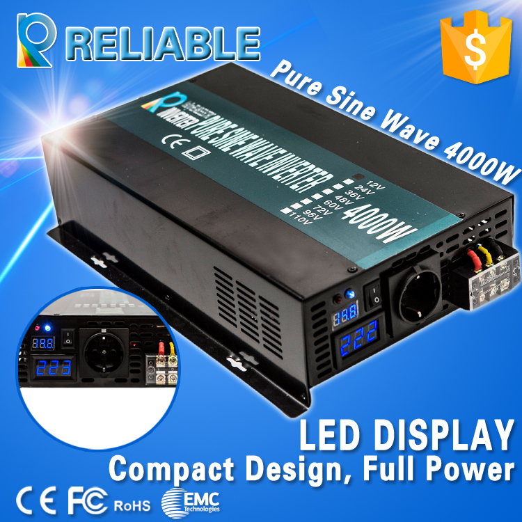 LED Display inverter 12V 220V 4000w, peak 8000w power inverter high frequency pure sine wave solar inverter 12v dc converter(China (Mainland))