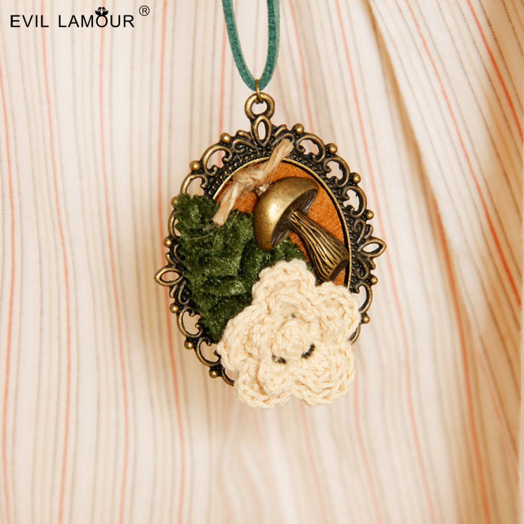 Sen female creative wool sweater flower mushroom leaf chain necklace with long joker adorn article(China (Mainland))