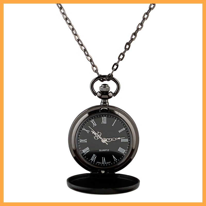 Sunshine New Classic Smooth black Dial Vintage Steel Watch Men Quartz Pocket Watch weight 46g chain