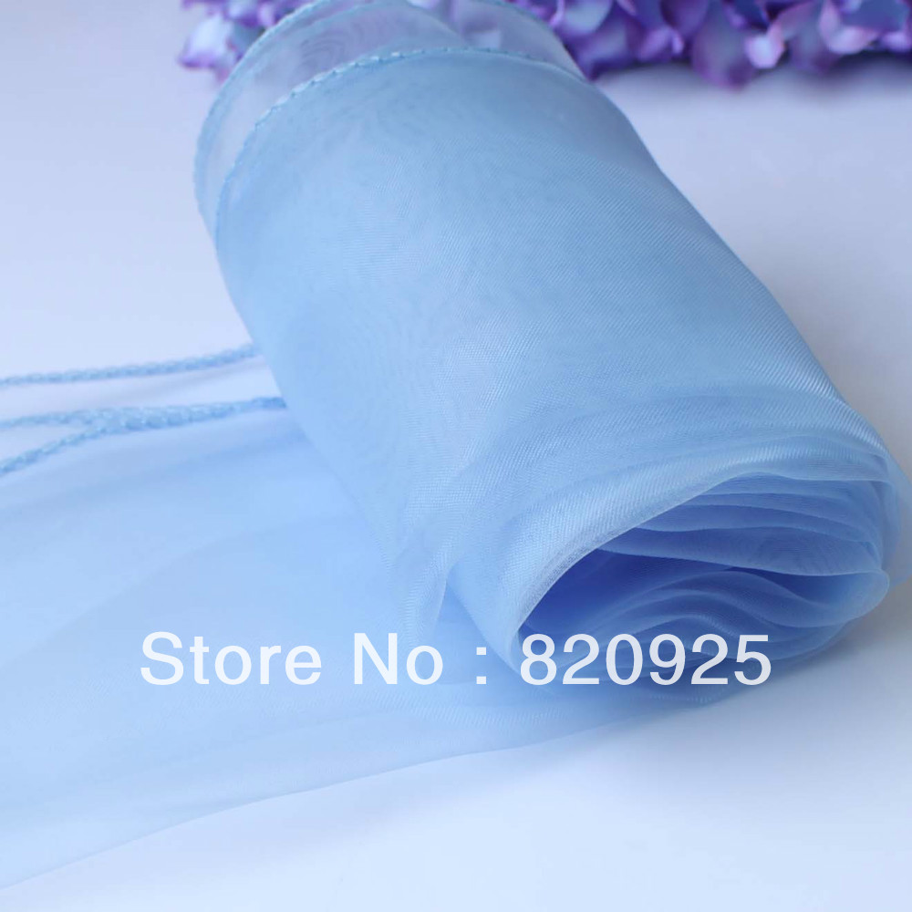 10 X Light Blue Organza Chair Cover Sashes Bow Table Runners For Wedding Party(China (Mainland))