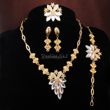 3 Colors Rhinestone Free Shipping New Fashion 18k Gold Plated Necklace Set Bracelet  Earrings Sets Ring Jewelry Sets For Wedding(China (Mainland))