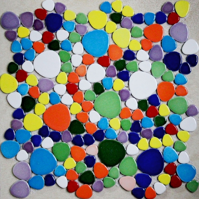 colorful mixed colors pebble ceramic tiles for bathroom