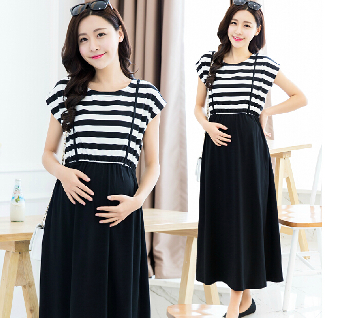 Autumn new maternity clothes for summer wear show thin stripe dress Out for breastfeeding women dress(China (Mainland))