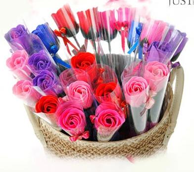 1000pcs/lot Soap Rose with ribbon, handmade wedding soap flower, No-fading Hotel/Wedding/Birthday Valantine Gift free shipping(China (Mainland))