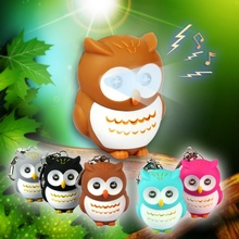 2016 New Owl LED Keychains Figure Toys sound glowing Pendant Dolls Owls Light Up Toys  LED toys(China (Mainland))