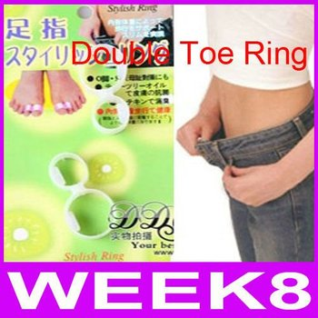 New Upgrade Double Toe Ring Weight Loss Diet Massage Fitness Slimming Silicon Diet Slimming 50pairs/lot By EMS