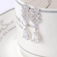 Fashion Party Charm Crystal Leaf Water Drop Flower Statement Bridal Earring Stud(China (Mainland))