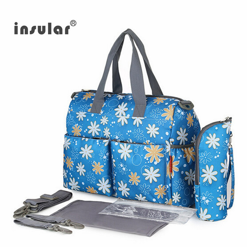 2016 NEW arrival Fashion Mother Bag Baby Nappy Bags Large Capacity Maternity Mummy Diaper Bag Cotton Flower Style 6pcs/set(China (Mainland))