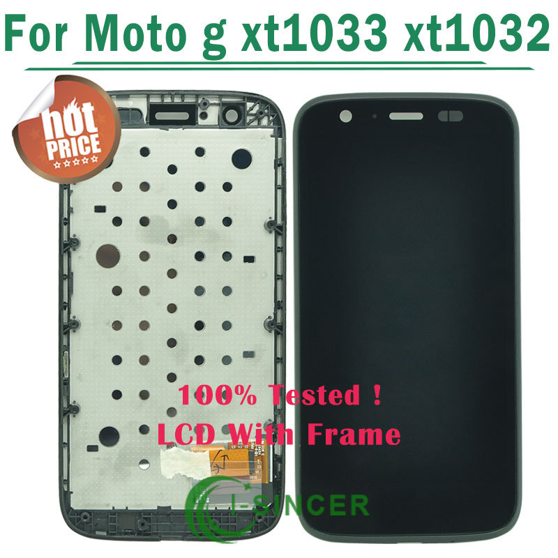 Free Shipping Original LCD Display Touch Screen Digitizer with Frame Assembly For Motorola MOTO G XT1032 XT1033-CHN/US Warehouse