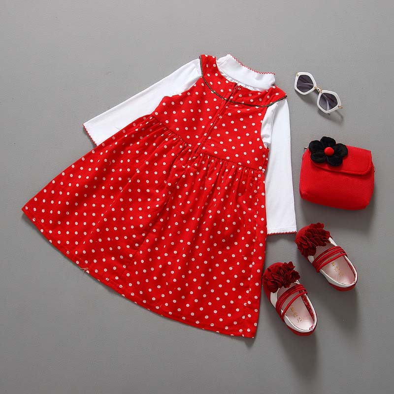 Christmas Party Girl Outfits 2pcs Tops Blouse+Polka dot Dress Sets 2-7Y children clothes set baby girls clothing set 2016 Xmas