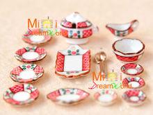 Dollhouse Miniature Porcelain ART Dinnerware dishes saucers soup jar spoon Set(China (Mainland))