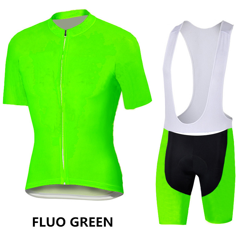 Cycling jersey 2016 solid color fluo green /yellow ropa ciclismo hombre pure color mtb bike clothes sport wear cycling clothing(China (Mainland))