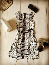 2015 New Fashion O-neck Round Collar Printed Tiger Stripes Slim Sleeveless Casual Women dress Vestidos Free Shipping Gray