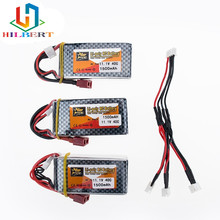 Buy LiPo Battery 11.1V 1500Mah 3S 40C MAX 60C T Plug 3 in1 cable RC Car Airplane trucks buggy boats Helicopter for $31.20 in AliExpress store