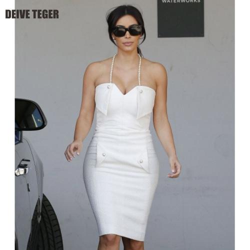 Free Shipping 2015 new arrival white summer dress Women's Dress Celebrity beading Sleeveless Party Dresses HL1627(China (Mainland))