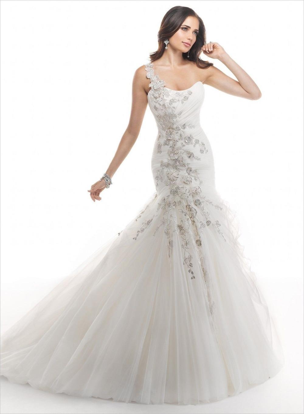 white shoulder lace wedding dress