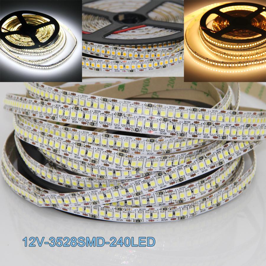 Super Bright Led Strip Light Ultra Bright 3528 SMD 1200LED 5M Strip Light Non-Waterproof 240LED/m Warm White Cool White DC12V(China (Mainland))