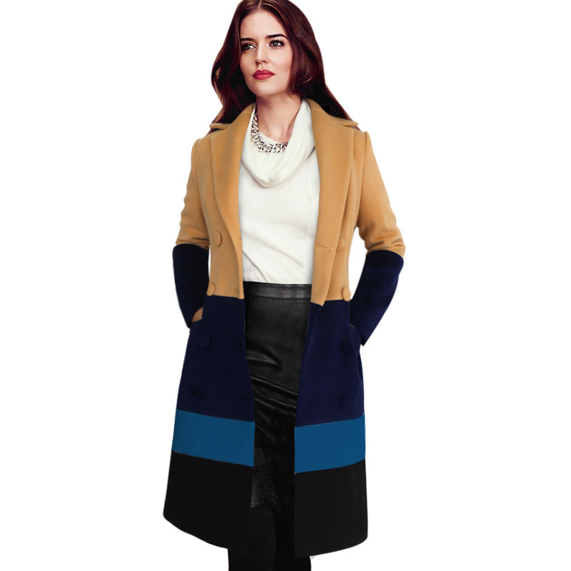 Large Size Autumn&Winter 2015 Turn-down Collar Long Slim Women Jacket Fall Double Breasted Wool Coats Plus SizeS-4XL GD44