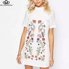 2016 spring and summer  new fashion European and American flowers embroidered stand collar white dress(China (Mainland))