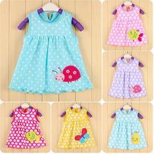 Ladybug Polka Dot Bebe Dresses 0-2years Baby Girls Dress Pettiskirt Sleeveless Infant Blouses baby clothing Cheap(China (Mainland))
