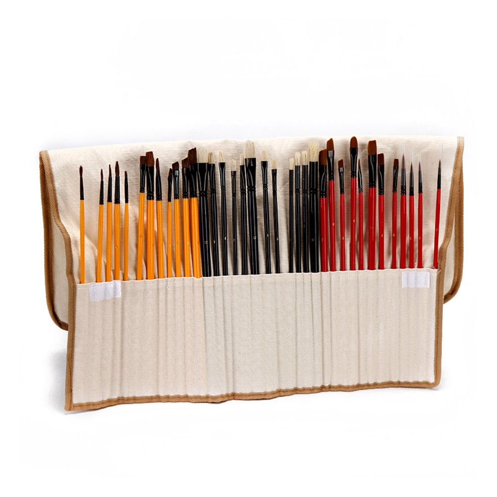 36 Paint Brush Set with Canvas Holder Synthetic Hair Art Brushes for Watercolor & Oil & Acrylic Painting(China (Mainland))