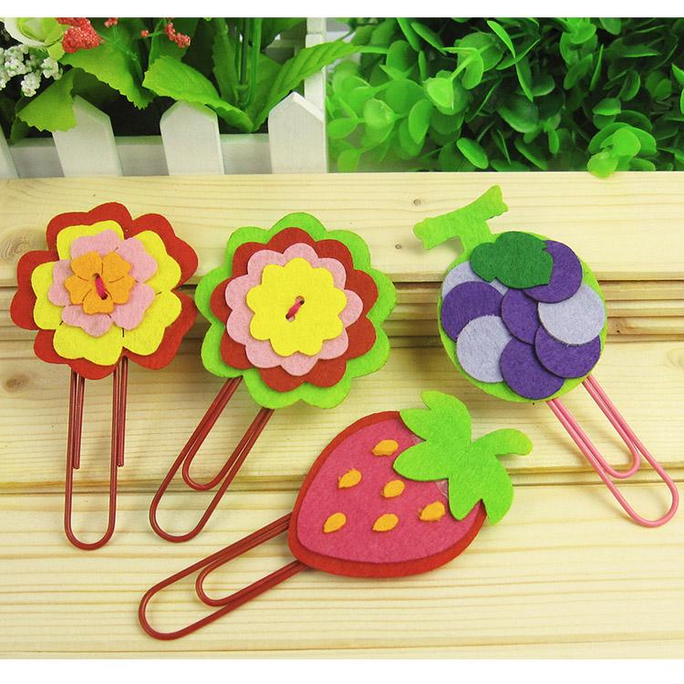 20 PCs Children DIY woven cloth handmade bookmarks/Kids kindergarten art craft cartoon bookmarks with clip educational toys(China (Mainland))