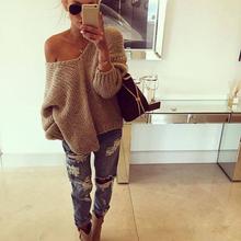 2015 Women Long Sleeve Knitwear Jumper Pullover Off Shoulder Sweater Tops V-Neck # 80967 (China (Mainland))