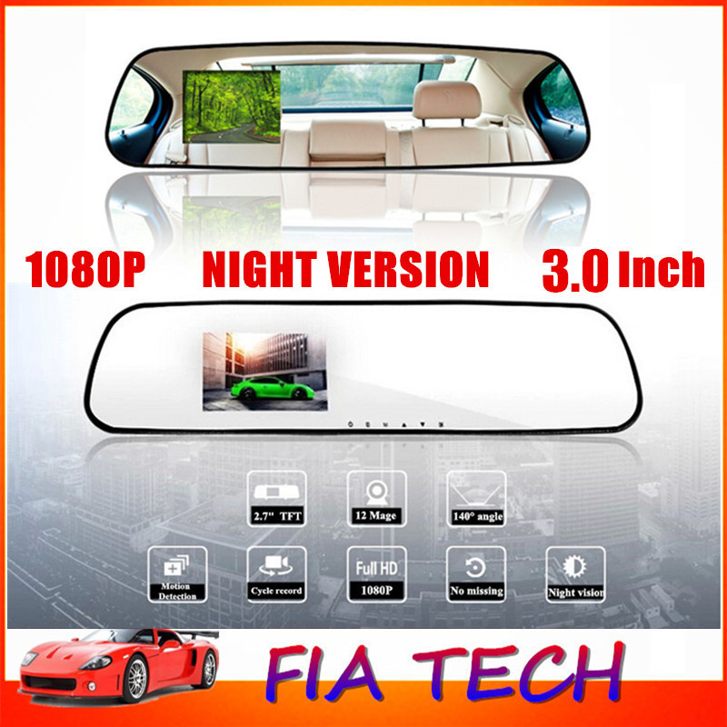 3.0 Inch 1080P Full HD Night Vision 140 Degree View Angle Rearview Mirror Car Camera DVR Recorder Camcorder - Best Price Sale(China (Mainland))