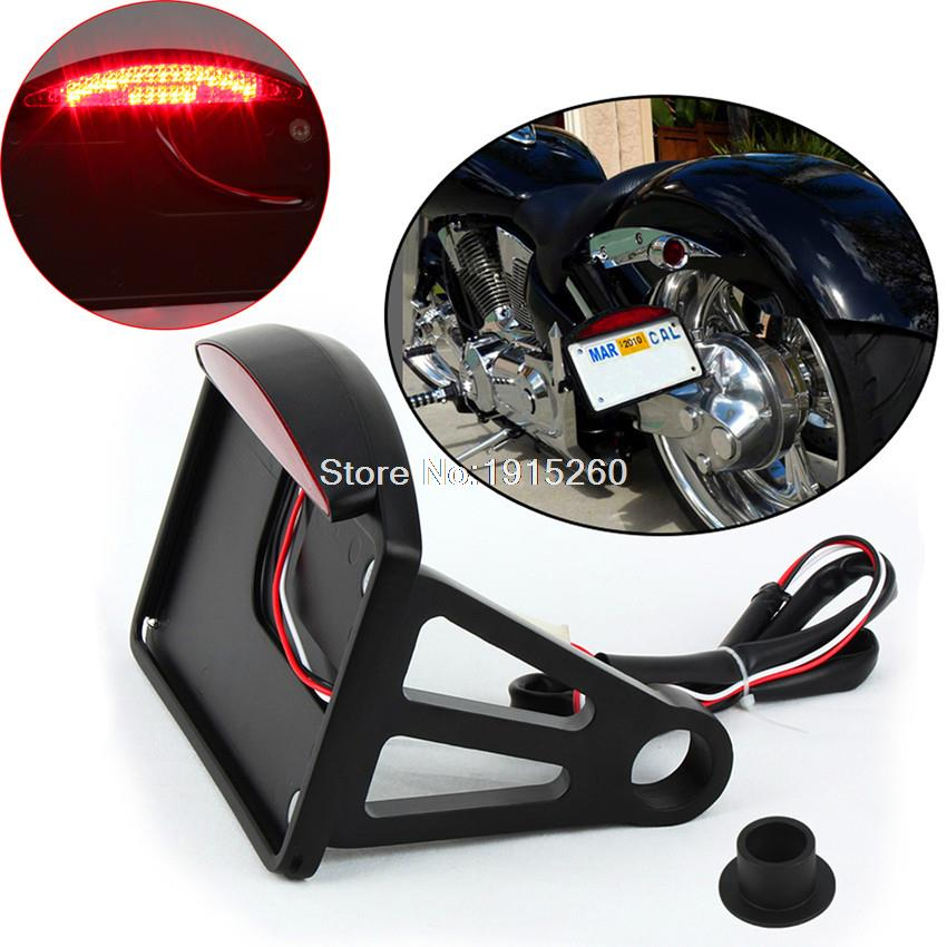 Black LED Side Mount License Plate Tail Light for Harley Sportster Dyna Softail(China (Mainland))