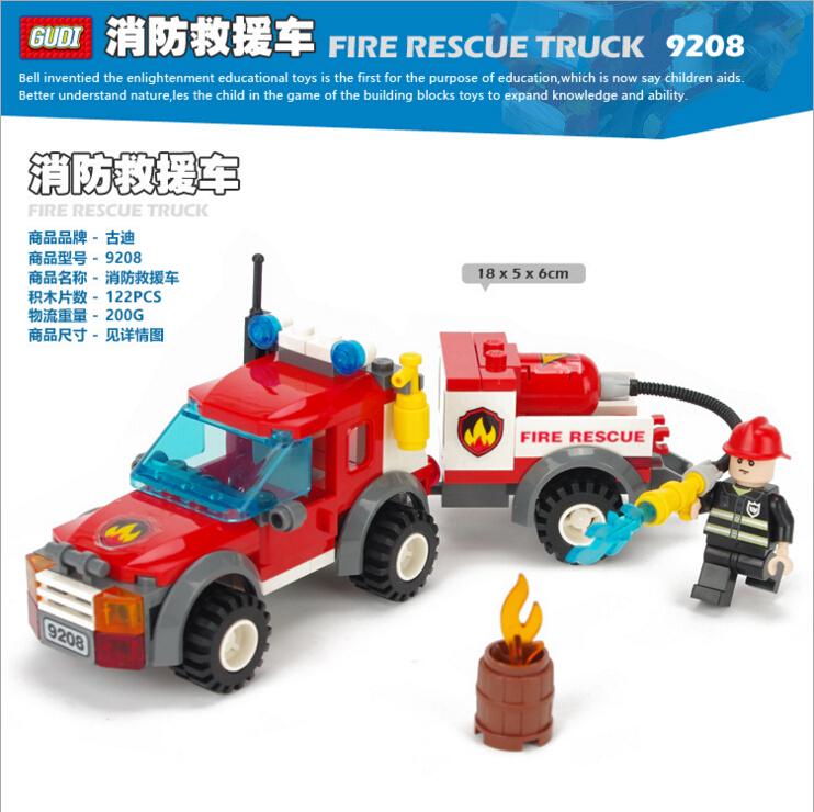 Fire Rescue Truck City Minifigures Building Blocks Model Bricks Legoelieds Toys 9208(China (Mainland))