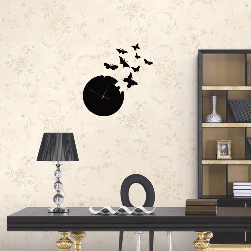 Modern Design Acrylic Crystal Mirror Wall Clock Luxury 3D Eleven Butterflies Pattern Black Wall Mirror Clocks(China (Mainland))