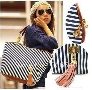 Free shipping Fashion New Women's Stripe Street bags Snap Candid Tote Shoulder Bag Handbags 2012 Canvas drop shipping