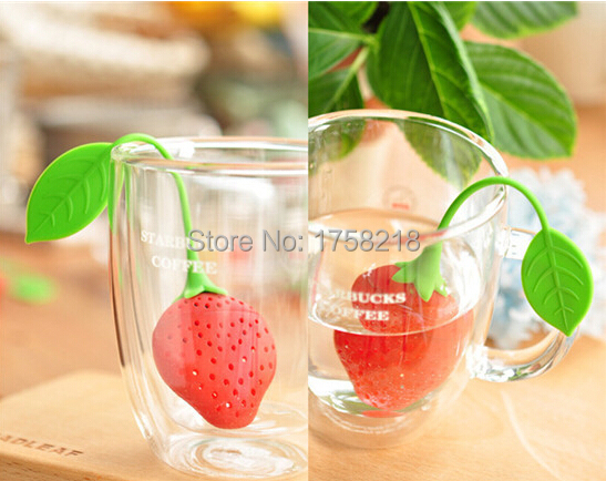 hot kettle Leaf Strainer lovely Silicone Strawberry bag ball sticks Loose Herbal Spice Infuser Filter Tea cooking Tools teapot(China (Mainland))