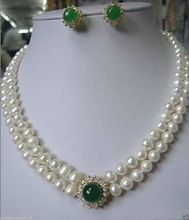 shipping Jewelry White Pearl necklace green Jade earring set hot(China (Mainland))