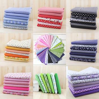 7pcs 50cm x50cm free shipping 8color plain thin Patchwork Cotton dobby Fabric Floral Series Quilt Charm Quarters Bundle Sewing