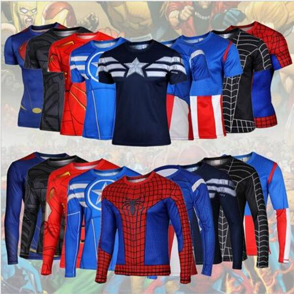 2016 comic superheroes avengers long-sleeved T-shirt amazing spider-man flash jerseys of high quality people(China (Mainland))