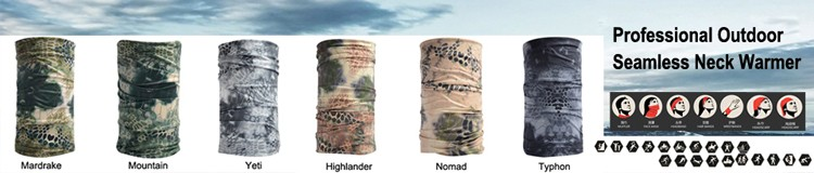 Battle Snake Neck Warmer/ Mountain seamless scarf/ Riding Hiking Sports scarves/ Outddoor camo scarves