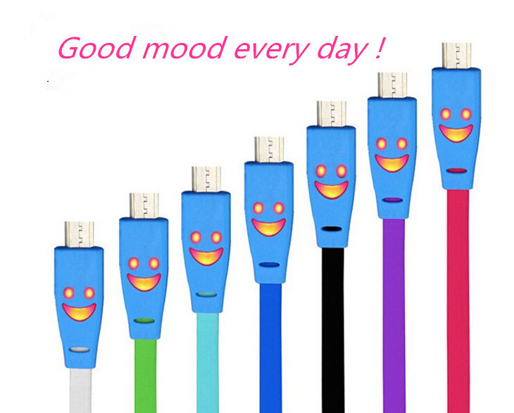 1m Colorful Flat Smiley Face LED Light Micro USB Sync Data Charge Cable for Samsung Galaxy Free shipping(China (Mainland))