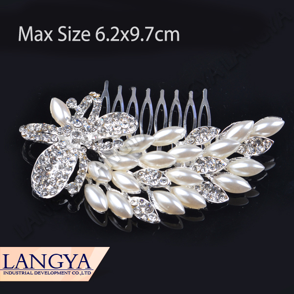 High Quality Silver Plated Butterful Rhinestones Pearl Clip Diamante Hair Comb(Hong Kong)