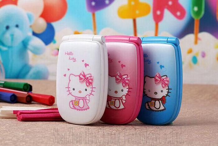 Unlocked W8 Cute Hello Kitty Flip Cell Phone Luxury Music Flash Light Mini Girl Phone Lady Children Kids Mobile Phone(China (Mainland))