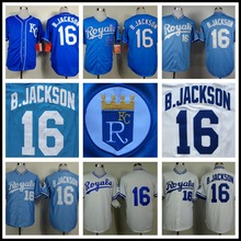 Mens Blue White Bo Jackson Jersey Cheap Royals 16# Bo Jackson Throwback Baseball Jerseys Stitched(China (Mainland))