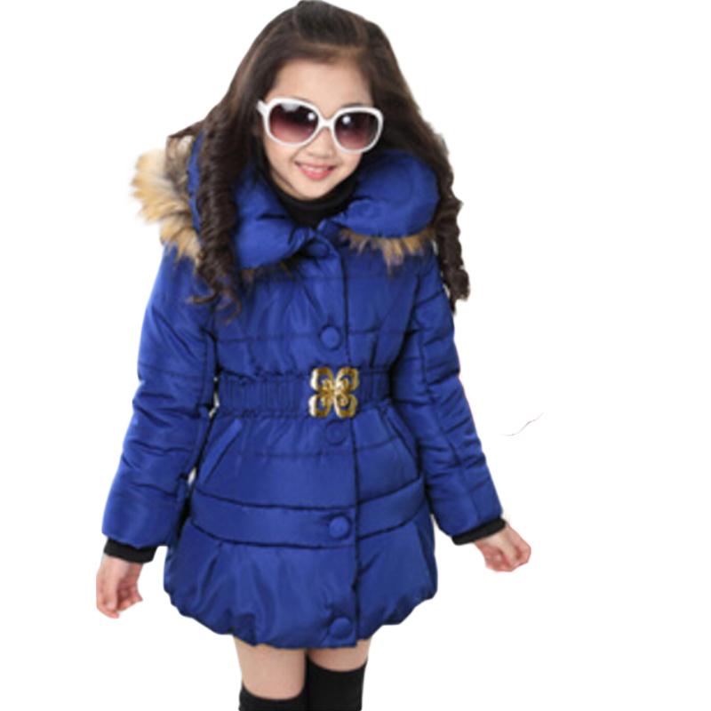 High Grade Kid Winter Cotton Coats Long Sleeve Fur Hooded Parka Girl Jacket Zipper Butterfly Belt Outwear Abrigo Nina 2015 EC402