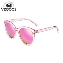 VEGOOS Real Polarized Vintage Women Sunglasses Flash Mirrored Lens Designer Brand Orignal Retro Round Sunglass Sun Glasses #9092
